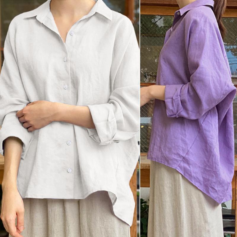ZANZEA Women Blouse 2020 Korean Style Turn Down Collar Shirts Casual Solid Blusa Femininas Ladies Long Sleeve Tops Plus Size 5XL