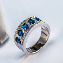 Luxury Female Natural Blue Sapphire Stone Ring Real Solid 925 Sterling Silver Rings For Women Big Wedding Engagement Ring(China)