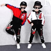 Teenage Boys Clothing 2019 Spring and Autumn Hip Hop Set Fashion Sports Zipper Blouses + Pants Two Piece Set Halloween Dresses