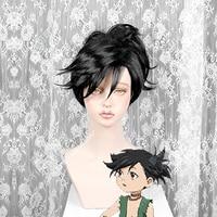 Anime Osamu Tezuka Classics Dororo Black Side Short Hair Cosplay Costume Wig With Removable Chip Ponytail + Free Wig Cap