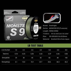 Image 3 - SeaKnight מותג S9 סדרת 300M 500M PE דיג קו 9 גדיל הפוך ספירלת טק Multifilament חזק קרפיון דיג קו 20 100LB