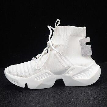 Otoño Zapatillas altas de plataforma Mujer Zapatos casuales de punto Mujer Blanco Zapatillas negras Air Mesh Chunky Trainers Dad Shoes 1