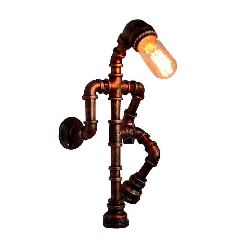 Creative personality robot wall lamp industry wind pipe loft light restaurant pub bedroom aisle bar corridor study cafe light|LED Indoor Wall Lamps| |  - title=