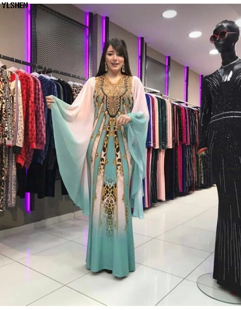 New African Dresses for Women Dashiki Print African Clothes Bazin Riche Sexy Slim Ruffle Sleeve Long Africa Maxi Dress Woman 29
