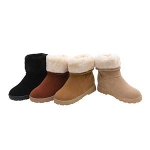 Image 5 - 2019 winter Koreanische runde kopf stiefel warm dicken plüsch flache baumwolle stiefel weibliche non slip gummi bottom set fuß schnee stiefel