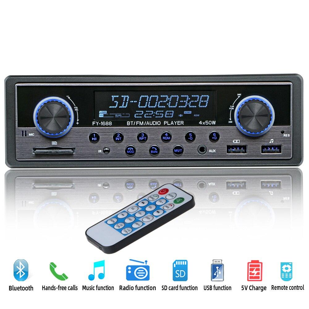 Автомобильный радиоприемник с Bluetooth автомобильный стерео радио USB AUX аудио Авто Электроника 12 В в-тире 1 DIN автомобильный MP3 мультимедийный пл...