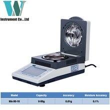 Analizador de humedad de calefacción halógena Electrónica Industrial, 50g, 0,01g, con impresora, envío gratis