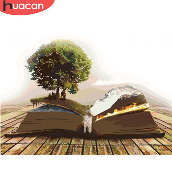 HUACAN Coloring By Numbers Book Tree Landscape Kits Drawing Canvas DIY HandPainted Pictures Oil Painting Art Gift Home Decor