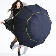Umbrella Men Women Windproof Floding Rain 130cm Double-Layer Large Male Big Sun-3