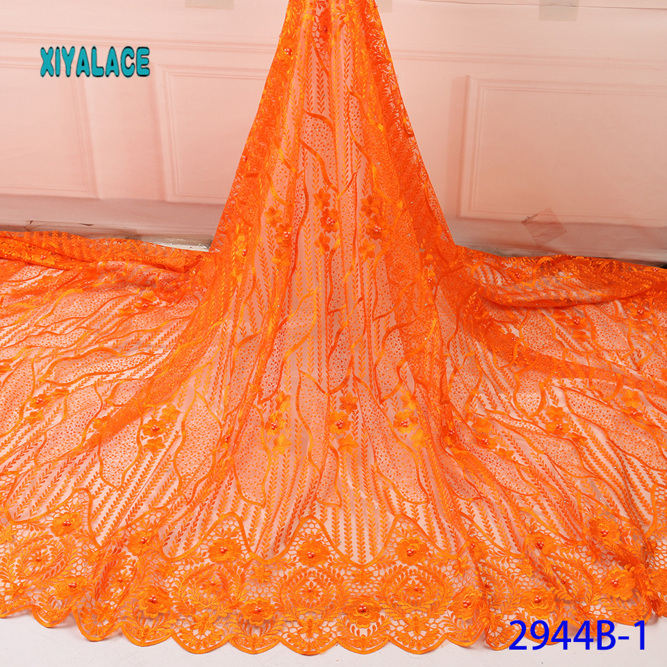 African Lace Fabric Latest High Quality 2019 Lace Embroidery French Lace Fabric Bridal Lace For Nigerian Party Dress YA2944B-1