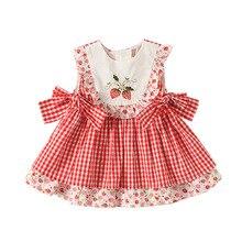 Платья принцессы для девочек, летние детские платья с принтом клубники, детское мультяшное платье, детское праздничное платье, платья для д...