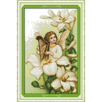 DIY Handmade Needlework Lily Angel Send Blessing!DMC Counted Cross Stitch Kits for Embroidery Patchwork Knitting Needles Crafts
