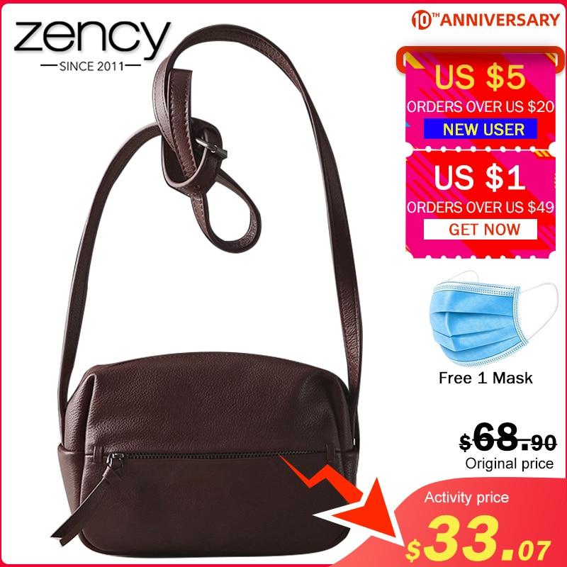 Zency 100% Genuine Leather Women's Messenger Bag Vintage Handbag High Quality Shoulder Bags Female Crossbody Soft Casual Purse