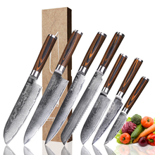 SUNNECKO Chef Knife Damascus Steel Japanese VG10 Kitchen Knives Set Pakka Wood Handle Slicing Utility Paring Bread Santoku