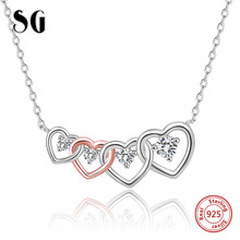 New listing 925 Sterling Silver Connected Heart Couple Heart Pendant Necklace for Girlfriend Silver Jewelry Valentine Day Gift цены онлайн