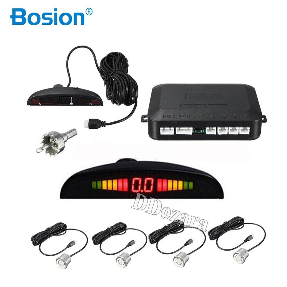 Auto Parkplatz Sensoren Parktronics 4 Schwarz/Silber/Weiß 22mm Flache Sensoren Reverse Backup Radar Sound Summer Alarm einstellbar Sound