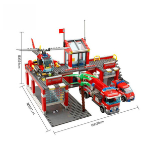 Image 2 - Modelo de estação de bombeiros da cidade conjuntos de blocos de construção caminhão bombeiro tijolos educativos brinquedos para crianças presentes