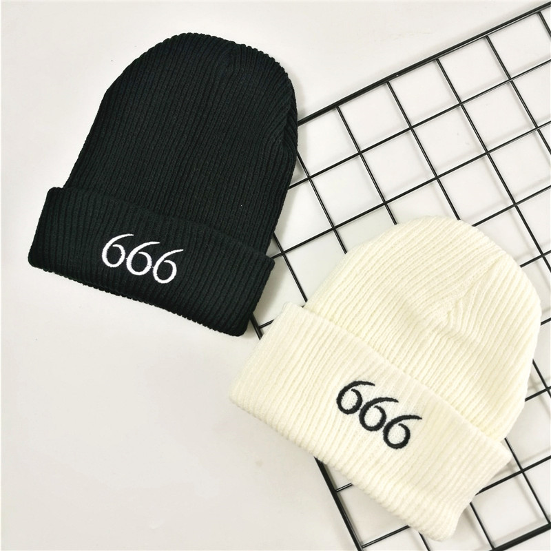 Autumn And Winter New Knit Hat Korean Version Of The Wild Men's Tide Hat Embroidery Letters 666 Sets Of Head Cap Lovers Knit Hat