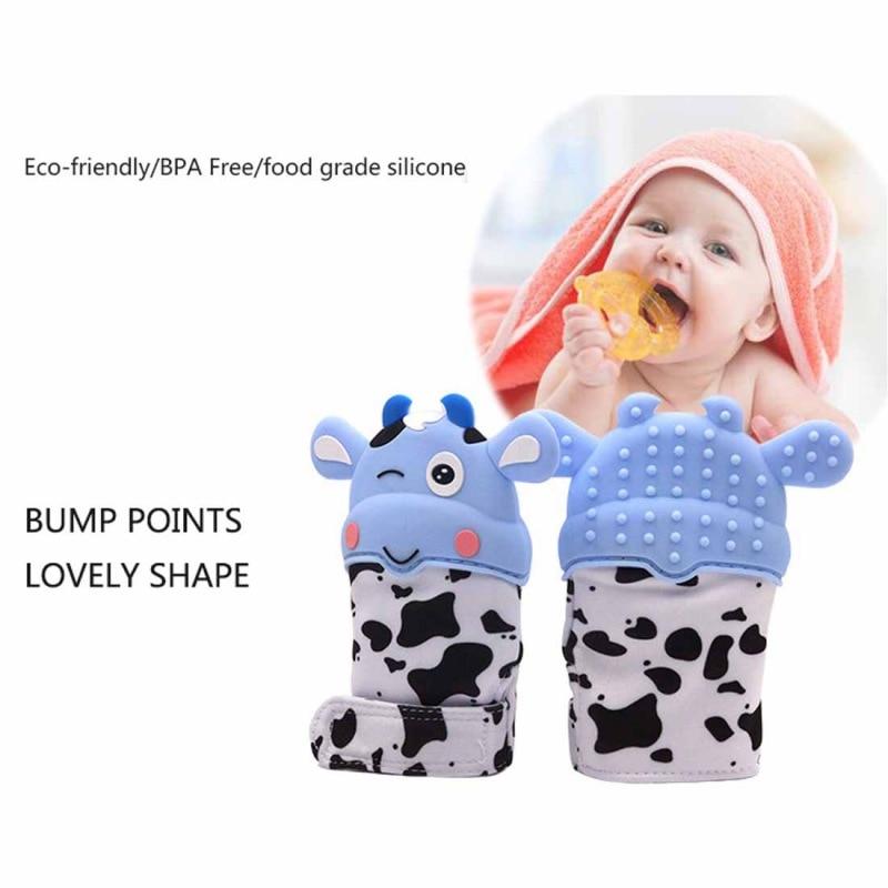 Newborn Baby Cute Cartoon Silicone Teether Baby Bijtringen Mitten Pain Relief Self-Soothing Teething Glove For Baby