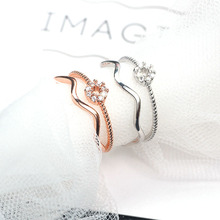 Korean version of the temperament double zircon ring personalized wave opening geometric ring
