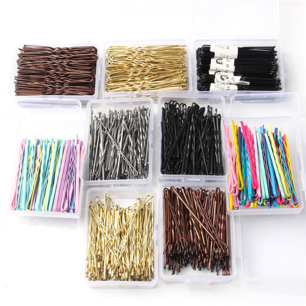 50/100Pcs Colorful Wedding Alloy Bobby Pins Hair Clips Hairpins Barrette Hairpins Hair Accessories Black Side Wire Word Folder