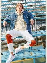 סודה מים גברים רצים מכנסיים 2019 סתיו רחוב סגנון טלאים מכנסיים היפ הופ מכתב הדפסת מכנסי טרנינג Loose מסלול מכנסיים 9359S