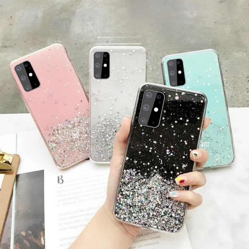 Starry Glitter Soft Case untuk Samsung Galaxy S8 S9 S10 S20 Plus Ultra A10 A20E A20 A30 A40 A50 A70 a7 A9 2018 A30S A51 A71 A81
