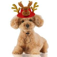 2019 Funny Xmas Hat Pet Dog Cat Christmas Headwear Christmas Elk Reindeer Antlers headband Hat Apparel Adjustable Snowman Cap 20 headwear forest antler headband fashion christmas hair accessories reindeer christmas headband reindeer headband deer antlers