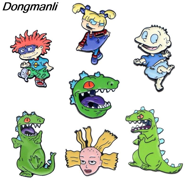P3555 Dongmanli Аниме Фигура динозавра металлические эмалевые булавки и броши для модных лацканов булавка рюкзак сумки значки подарки