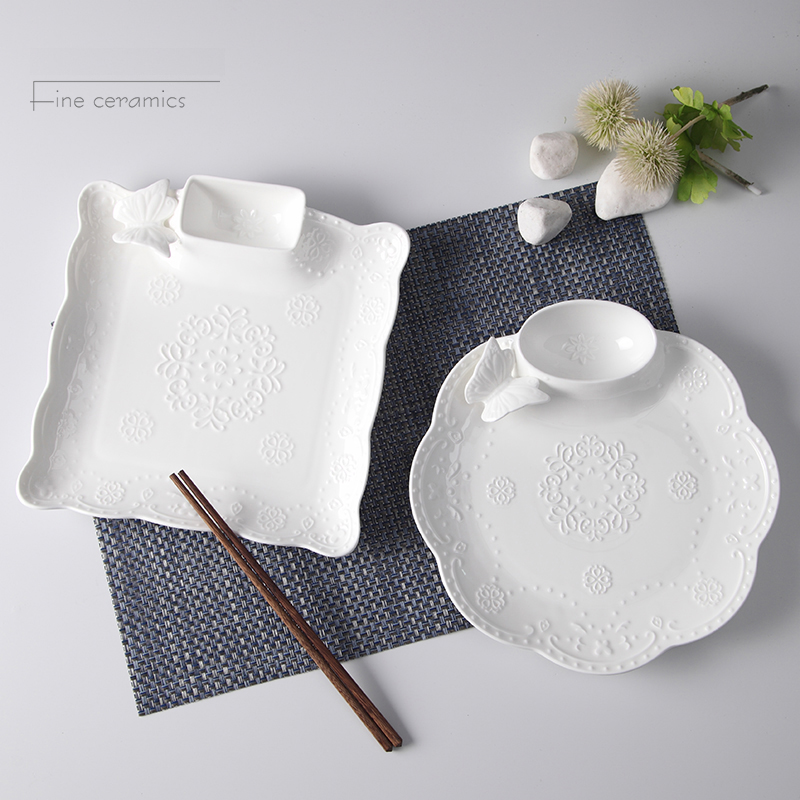 10inch, white embossed porcelain party plates for snack, ceramic plate cake with sauce, serving plates party, potato chip tray