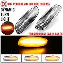 2 uds dinámica luces LED de posición lateral de señal de vuelta de luz intermitente para Citroen C3 C4 C5 DS3 DS4 para Peugeot 207, 308, 3008, 5008 RCZ