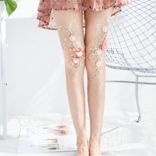 Summer Stocking Handmade Flower Embroidery Women Pantyhose Sexy Fishnet Tights for Girls Fish Net Stockings