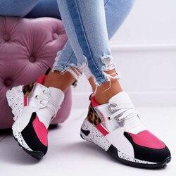 Nieuwe Mode Vrouwen Sneakers Luipaard Print Lederen Dikke Bodem Verhoogd Sneakers Casual Comfortabele Sport Schoenen Voor Dames
