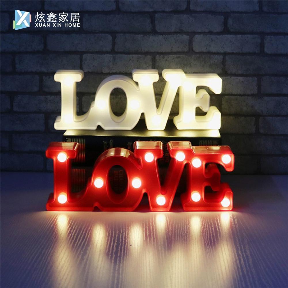Romantic Fashion Atmosphere Decoration Lamp 3D LOVE Letter Logo Light Proposal Night Light Valentine's Day Gift Light