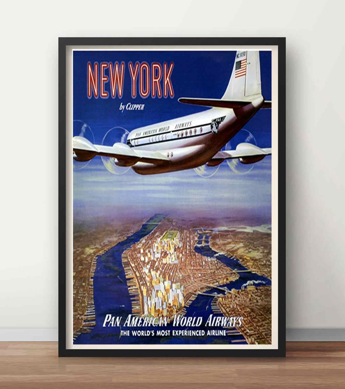 Vintage Pan Am Flights to The Caribbean Airline Poster A3 Print