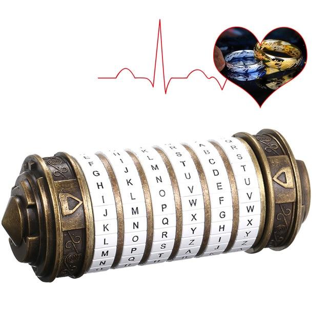 דה וינצ י קוד נעילת צעצועי מתכת Cryptex מנעולי רטרו חתונה מתנות חג האהבה מתנה מכתב סיסמא לברוח תא אבזרי