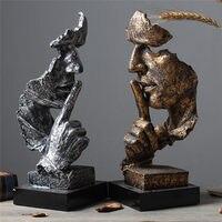 Креативные статуи Thinker Ретро абстрактные персонажи Статуэтка не слушайте говорящий вид миниатюрная скульптура Домашний Настольный подаро...