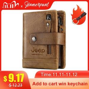 Image 1 - HUMERPAUL Genuine Leather Wallet Fashion Men Coin Purse Small Card Holder PORTFOLIO Portomonee Male Walet for Friend Money Bag