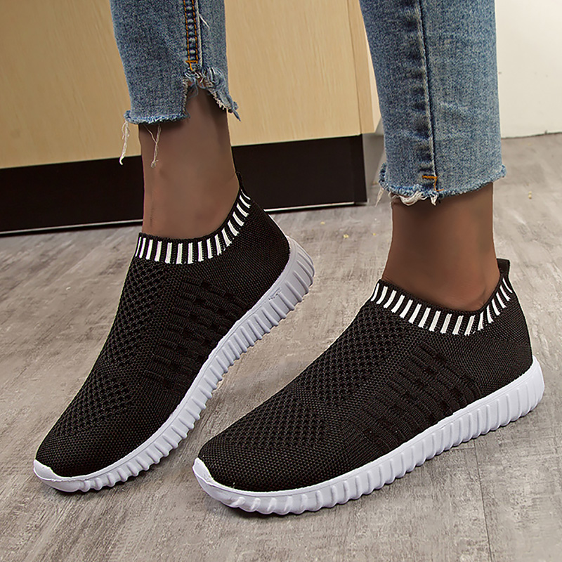 Women's Shoes Spring Knitting Breathable Sock Sneaker Women Plus Size 43 Slip On Casual Woman Sneakers Wedges