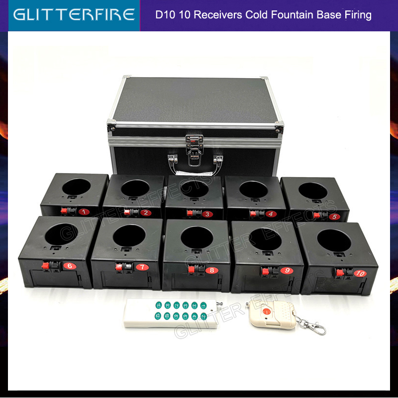 Cold Firework Igniter Machine Wireless Remote Pyrotechnics 10 Cues Receiver Stage Equipment Fountain System 1case 10 Base Firing