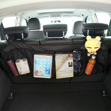 Car Trunk Organizer Back Seat Bag SUV Net Mesh Storage Stowing Tidying Floding Pockets Trash Automobile Bags In Cars Accessories