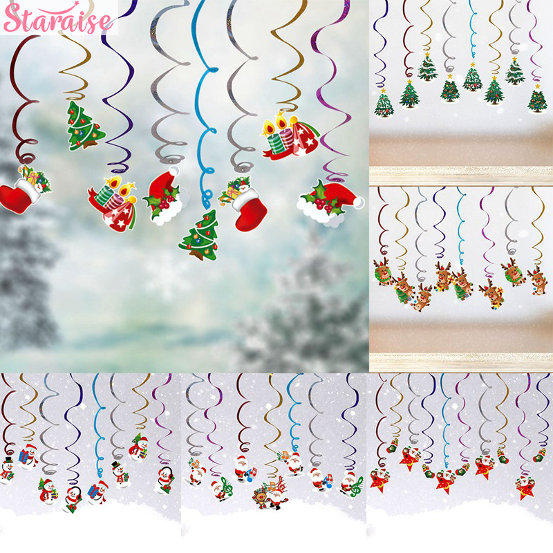 Merry Christmas 8pcs Spiral Decoration Santa Claus Snowman Elk Tree Pattern Decorations For Home