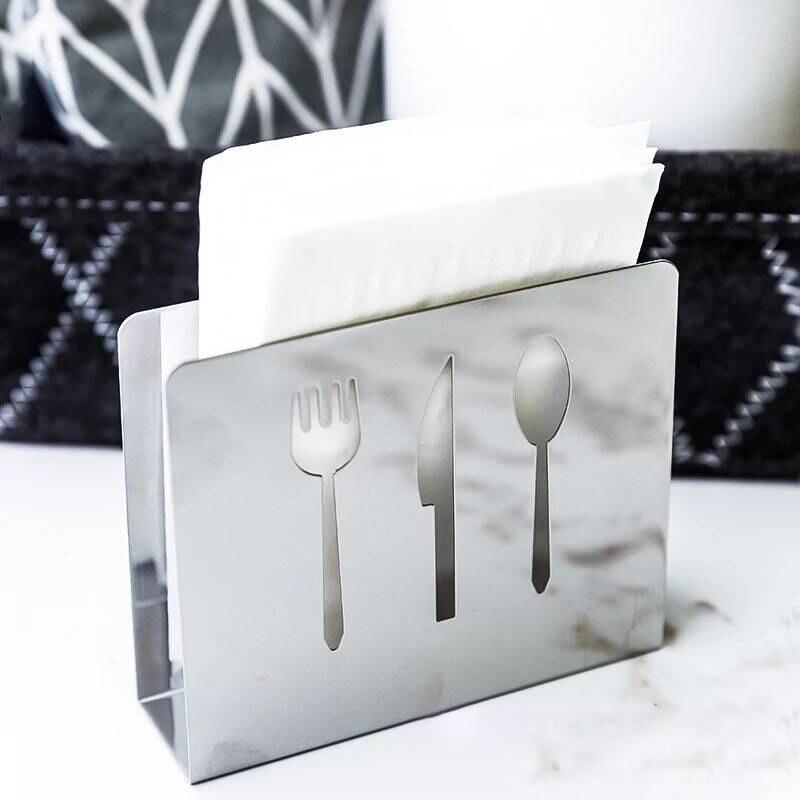 1Pc Creative Stainless Steel Napkin Holder Dinning Table Tissue Storage Rack Restaurant Towel Paper Dispenser