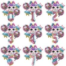 Original lol surpresa bonecas crianças meninas festa de aniversário decoração fundo balão de ação brinquedos filme de alumínio presentes para crianças