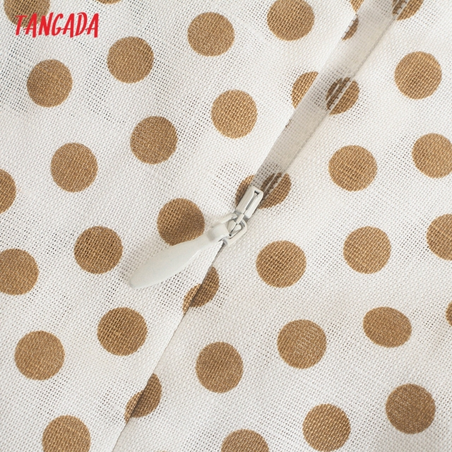 Tangada 2021 Fashion Women Dots Print Halter Dress Sleeveless Backless Buttons Female Casual Dress 5Z241 4