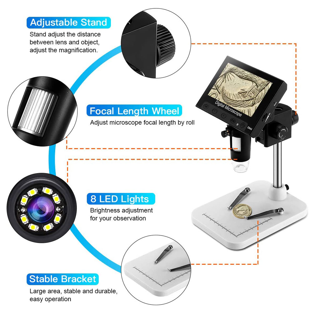 4.3 inch LCD Digital USB Microscope Endoscope Record 1000X Magnification Zoom Storage Camera Video Recorder for Repair Soldering