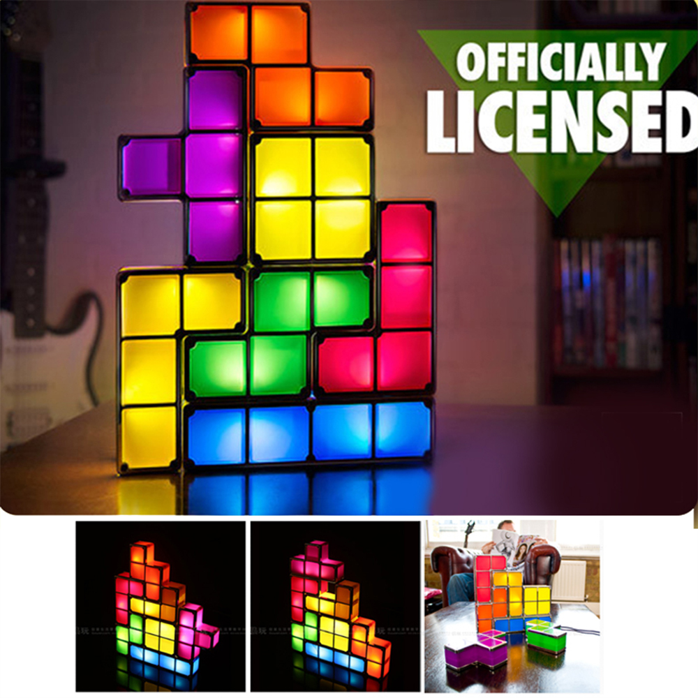 Creative Night Light Tetris Block DIY Stackable Decorate Full Contact LED Light ABS Colorful Constructible Puzzle Night Lamp