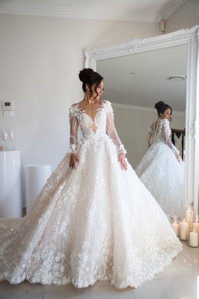 Eslieb 3d flower pearls sexy ball Gown wedding dress 2020 wedding dresses