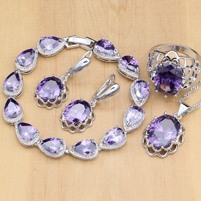 Argent naturel 925 ensembles de bijoux violet zircon cubique pierre bijoux pour femmes boucles doreilles/pendentif/collier/anneaux ouverts/Bracelet