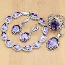 Doğal gümüş 925 takı setleri mor kübik zirkonya taş takı kadınlar için küpe/kolye/kolye/açık yüzükler/Bilezik